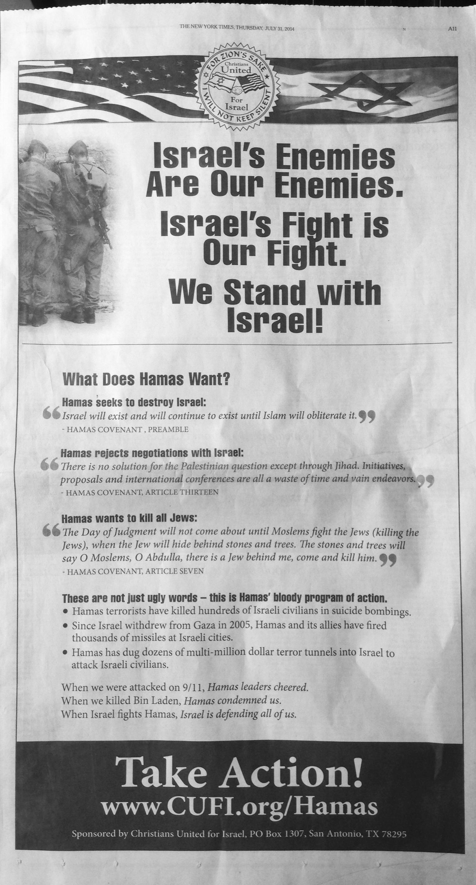 Anúncio pago de uma página no New York Times, principal jornal de Nova York.