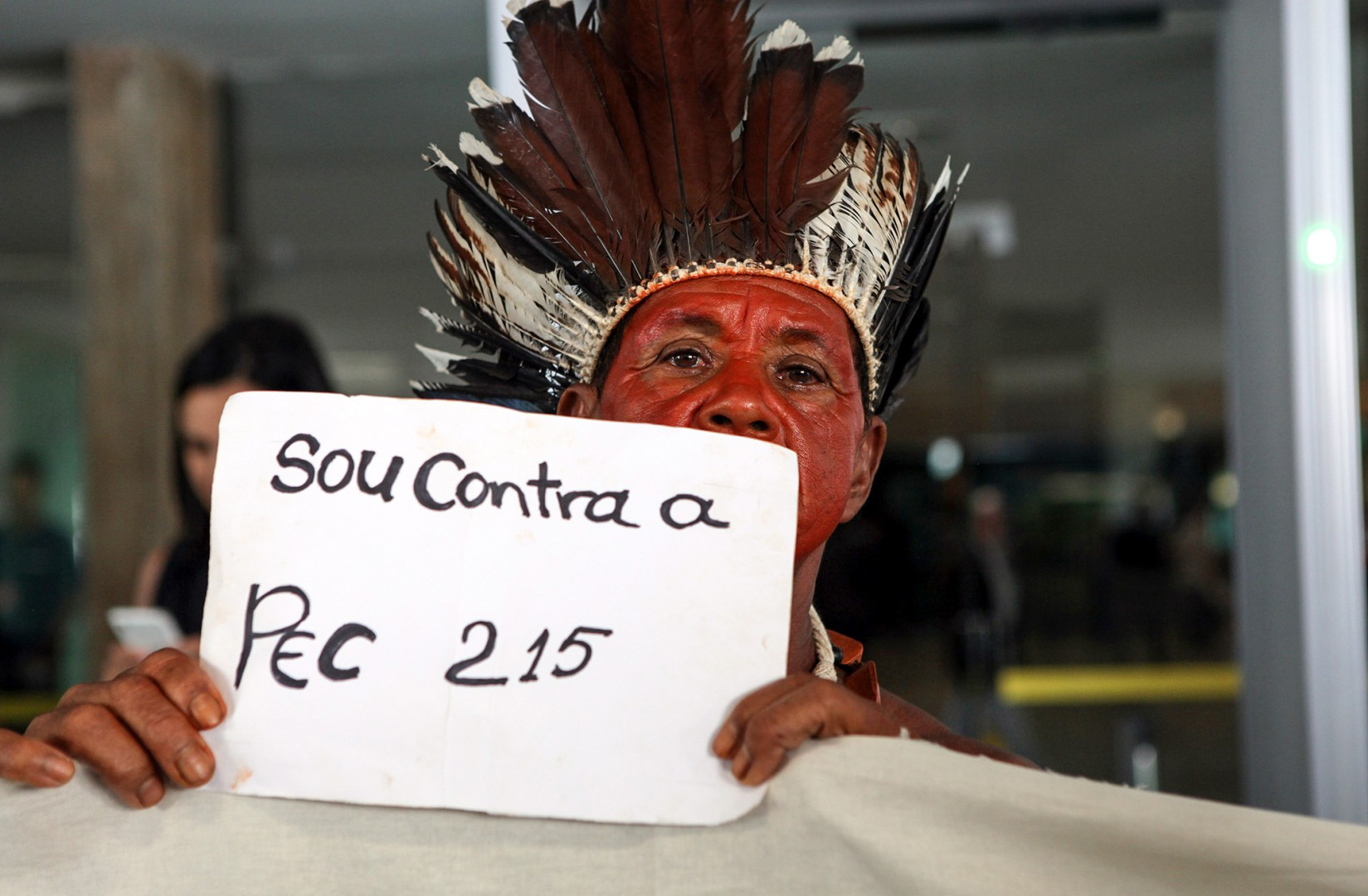 Brasília- DF- Brasil- 17/03/2015- Índios protestam na Câmara. Foto: Antonio Araújo/ Câmara dos Deputados